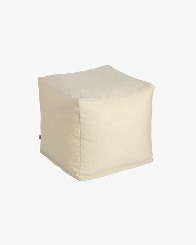 Puf quadrat Nedra 50 x 50 cm beix