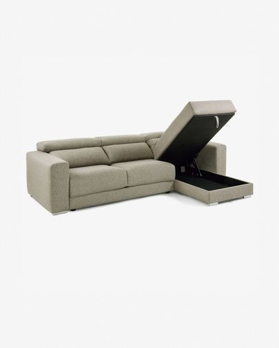 Atlanta 3-seater sofa with chaise longue in beige 290 cm