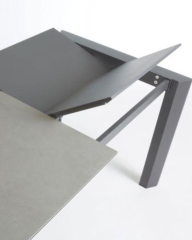 Axis uitschuifbare tafel 120 (180) cm porselein afwerking Hydra-draad antraciet benen