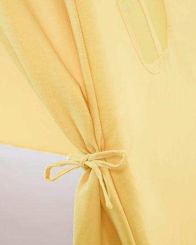 Tipi Darlyn 100% algodón mostaza y patas de madera maciza de pino