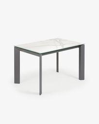 Axis uitschuifbare tafel 120 (180) cm porselein afwerking Kalos Wit antraciet benen