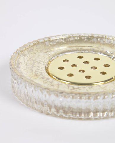 Christell gold glass soap dish