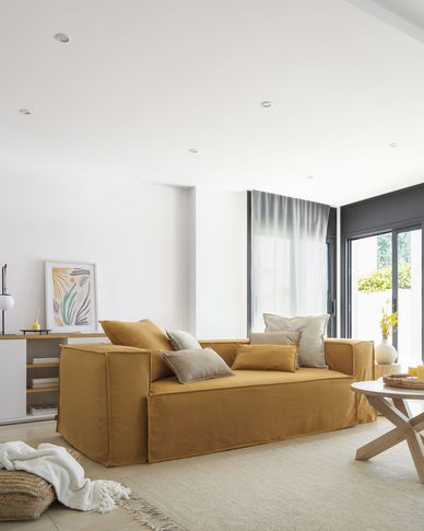 Blok 3-seater sofa with removable covers in mustard linen 240 cm
