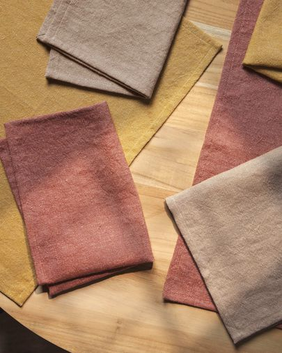 Abinadi set of two napkins in mustard cotton and linen