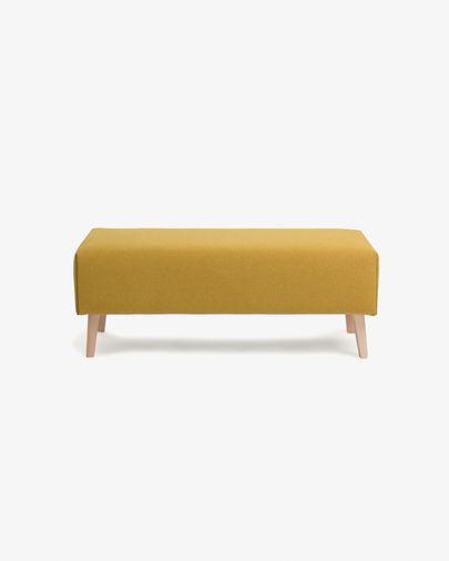Banqueta Dyla mostaza de madera maciza de haya 111 cm