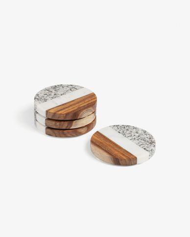 Set di 4 sottobicchieri rotondi Cataleg marmo bianco grigio
