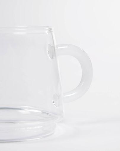 Vaso Laude de vidrio transparente y blanco