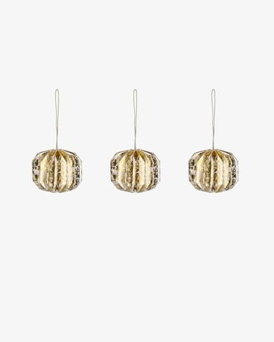 Set Wendy di 3 palline decorative oro