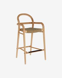 Sheryl stool made from solid eucalyptus and beige cord 69 cm