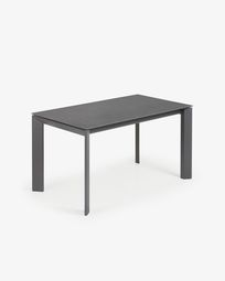 Extendable table Axis 140 (200) cm porcelain Vulcano Roca finish anthracite legs