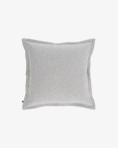 Capa almofada Aleria algodão riscas cinza e branco 45 x 45 cm