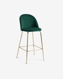 Green velvet Ivonne stool height 76 cm