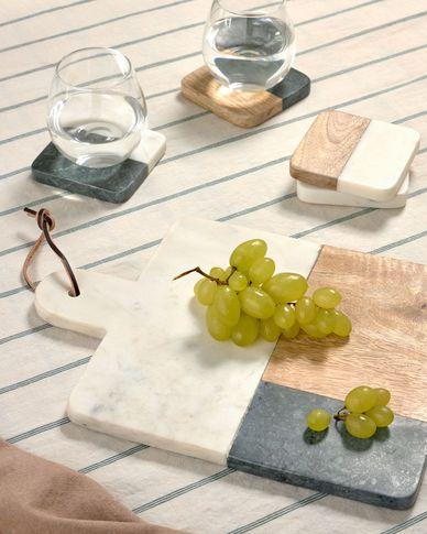 Tagliere Wilmina in marmo bianco e verde e legno