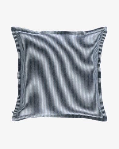 Housse de coussin Aleria coton rayures blanc et bleu 60 x 60 cm