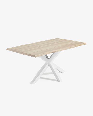 Table Argo 180 cm chêne blanchi pieds blanc