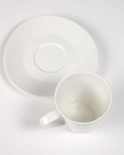 Tasse à café grande avec soucoupe Pierina porcelaine blanc
