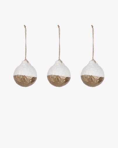 Set Galia de 3 boles decoratives ratlles blanc i daurat