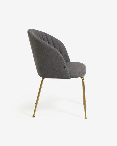 Chaise Lumina gris foncé et pieds en acier finition dorée