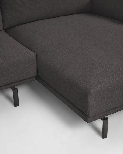 Sofá Galene de 4 plazas con chaise longue derecho gris 314 cm