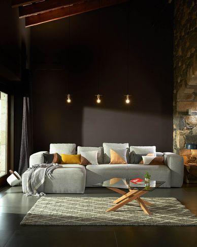 Kamido coffee table 90 x 90 cm on glass top steel legs in wood look
