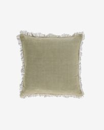 Almira green cotton and linen cushion cover with fringe 45 x 45 cm