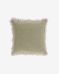 Funda cojín Almira algodón y lino flecos verde 45 x 45 cm