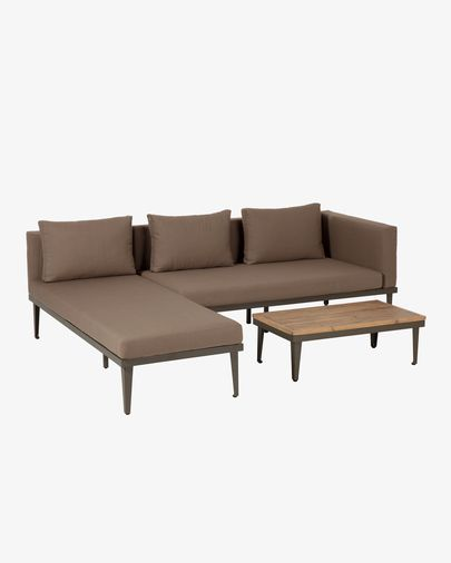 Set Pascale bank, chaise longue en bijzettafel