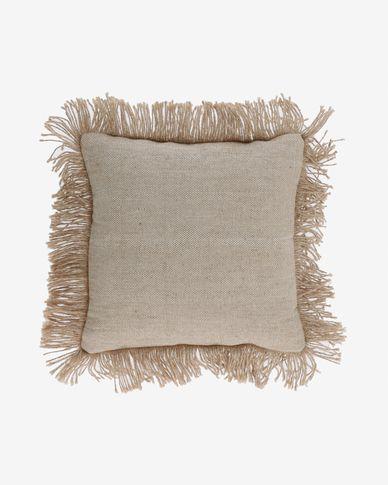 Funda de coixí Delcie de cotó beix amb serrells de jute de 45 x 45 cm