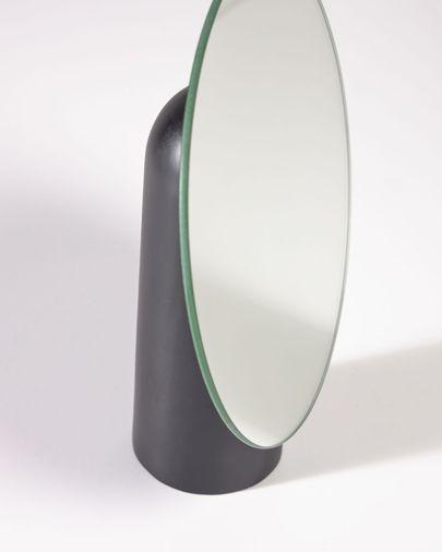 Veida mirror with black wooden stand