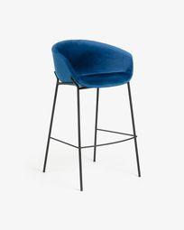 Blue velvet Yvette barstool height 74 cm