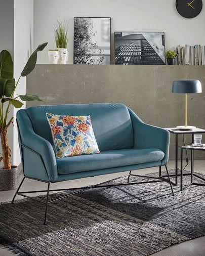 Turquoise velvet Brida sofa 128 cm