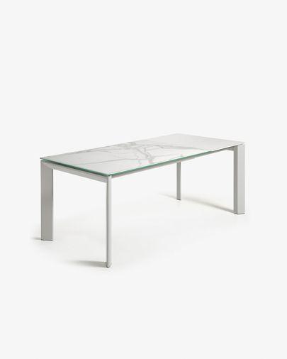 Extendable table Axis 140 (200) cm porcelain Kalos White finish gray legs