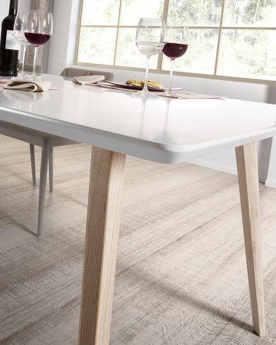 Eunice ausziehbarer Tisch 140 (220) x 90 cm mit weißen Beinen aus massivem Eschenholz