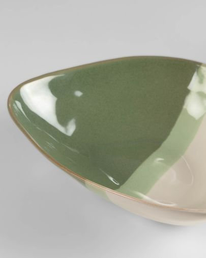 White and green Naara irregular bowl