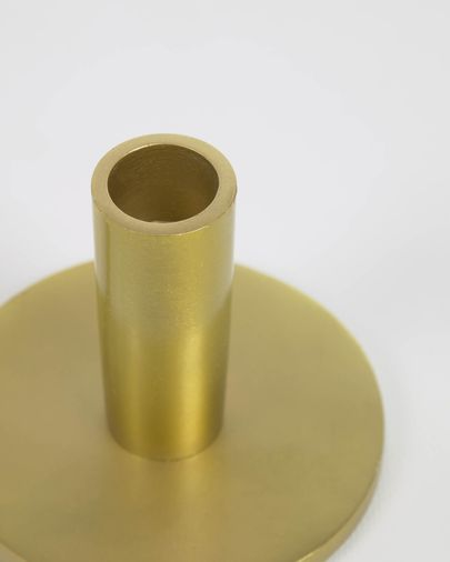 Adabella set of 2 gold-coloured aluminium candle holders 6 cm and 8 cm
