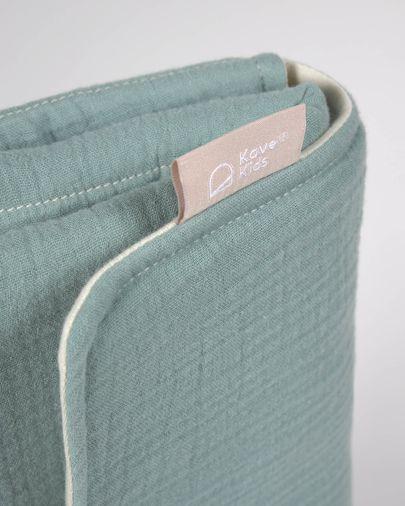 Matelas à langer de voyage Jeila 100% coton bio (GOTS) turquoise
