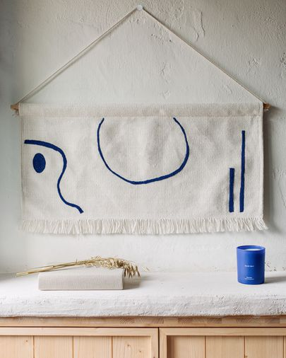 Tapiz mural Atal figuras azul 70 x 36 cm