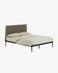 Nelly grey bed with base 150 x 190 cm
