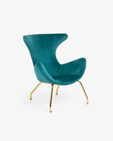 Turquoise velvet Chleo armchair