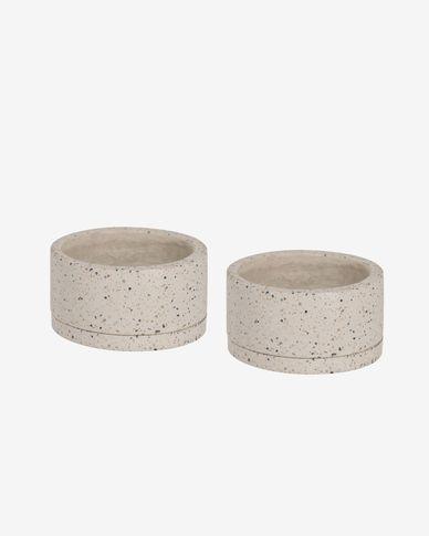 Set Lelis de 2 testos amb plat terratzo blanc Ø 30 cm
