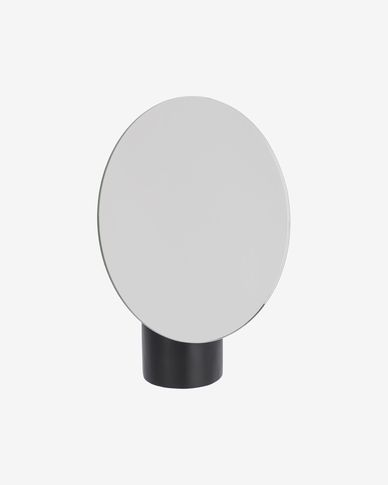 Veida mirror with black wooden stand