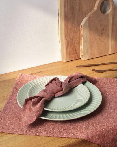 Set Abinadi de 2 individuales de algodón y lino terracota 35 x 50 cm