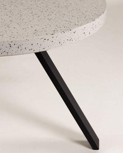 Taula Shanelle de terratzo blanc i potes d'acer acabat negre Ø 120 cm