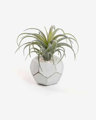 Planta artificial Tillandsia con maceta de cemento blanco 13 cm