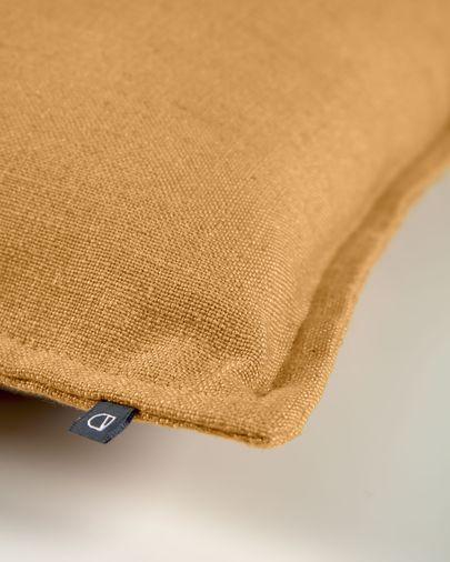 Blok linen cushion cover in mustard, 45 x 45 cm