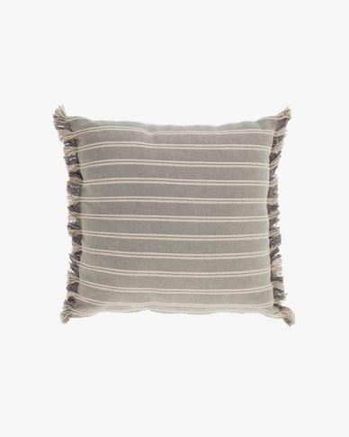 Poszewka na poduszkę Sweeney 100% bawełna w paski biała i szara 45 x 45 cm