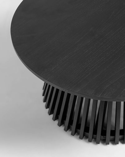 Mesa de centro Jeanette madera maciza de mindi negro Ø 80 cm