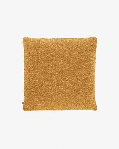 Funda coixí Vicki pell de borrec mostassa 45 x 45 cm