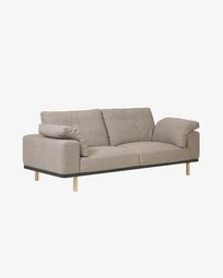 Noa 3 seater sofa with beige cushions and legs in natural finish 230 cm