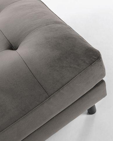 Debra voetenbankje 80 x 80 cm grijs fluweel